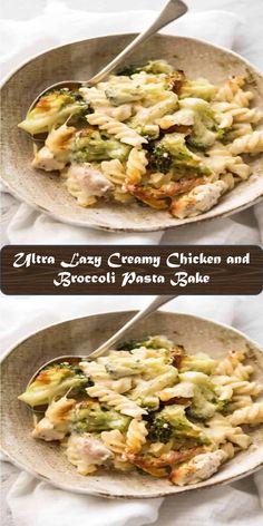 Ultra Lazy Creamy Chicken and Broccoli Pasta Bake Broccoli Pasta Bake, Broccoli Recipes, Bacon Recipes, Chicken Recipes, Clean Eating Recipes For Dinner, Best Dinner Recipes, Lunch Recipes, Best Vegan Recipes, Fun Easy Recipes