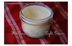 Homemade Vanilla Night Cream: (coconut oil, coconut cream concentrate, raw cacao butter, pure vanilla)