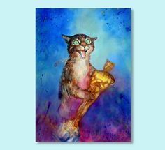 "Giclee, Print,8x10in, А4,Watercolor PRINT, funny  Art Print,cat and the ""Oscar"",  nursery art"