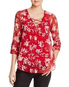 Bailey 44 Woman Cherry Blossom Lace-up Floral-print Chiffon Blouse Red Size XS Bailey 44 Outlet Eastbay Looking For Outlet 2018 Clearance With Credit Card H7i95pG