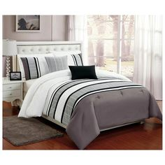 Beautiful 5 PC Grey , White and Black striped Comforter Bedding Set