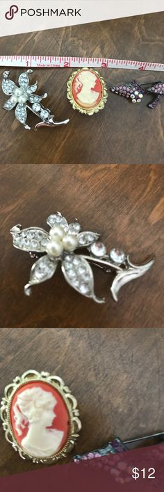 Brooches Three beautiful brooch plans. One silver daddy,purple stone slipper(old) and a cameo. Jewelry Brooches