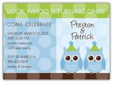 Party Anim-OWLS Boy Twins Birthday Invitation - Custom Twins Birthday Invitations from the leader in Twins & Multiples stationery products - www.amyscardcreations.com - Cards as low as $1.15 - Thank you for shopping with me and supporting small business!