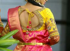 Stylish blouse design - The handmade craft Saree Blouse Models, Silk Saree Blouse Designs, Bridal Blouse Designs, Designer Blouse Patterns, Dress Patterns, Stylish Blouse Design, Clothes For Women, Work Blouse, Indian Bridal