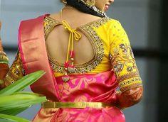 Stylish blouse design - The handmade craft Saree Blouse Models, Silk Saree Blouse Designs, Saree Blouse Patterns, Bridal Blouse Designs, Blouse Neck Designs, Dress Patterns, Stylish Blouse Design, Indian Designer Wear, Work Blouse
