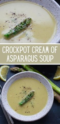With only six ingredients needed, this crockpot cream of asparagus soup might be the easiest soup you'll ever make. #easy #healthy #best #vegetarian #glutenfree #dinner #lunch #slowcookerrecipes #crockpotrecipes #souprecipes