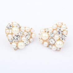 Pair of Delicate Elegant Faux Pearl Embellished Rhinestoned Sweetheart Earrings For Women (AS THE PICTURE) | Sammydress.com