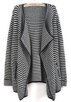 Black White Striped Contrast PU Leather Cardigan - Sheinside.com