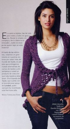 Chaleco Abierto Abotonado con Cordon - Patrones Crochet