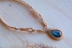Macrame necklace micro macrame labradorite necklace macrame