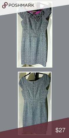 Tweed style lined dress.......Size 8 Black/white tweed. Floral zipper back and lined. Muse Refined Dresses Midi
