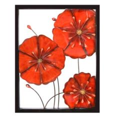 I like this look of the framed metal flowers, so bold and bright ...