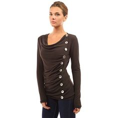 Cowl Neck Button Embellished Top