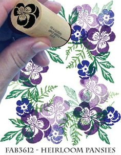 Rubber Stamp Tapestry Heirloom Pansies Set Of Four - Rubber Fabric Stamps. Bring a floral touch to your fabric projects with the Heirloom Pansies Fabric Stamp S
