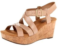 These Clarks classic sandals are made with a 100% Leather upper, a rubber sole and cork wedge heel. This classic design comes in three colors and will certainly last you more than just one season. Clarks definitely gets a TFG thumbs up for lightweight and comfortable wedges!