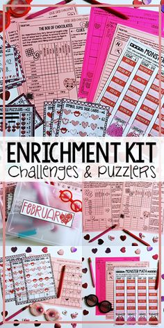 This Enrichment Kit is everything you need to engage the students that are needing an extra challenge in your classroom! Themed to Valentine's Day, this kit includes challenges and puzzlers that can be used for morning work, early finishers, or centers. These enrichment activities for kids are perfect to prep ahead of time with math challenges and puzzlers. If you're looking for early finisher activities, this kit is what you need! Enrichment activities for elementary.