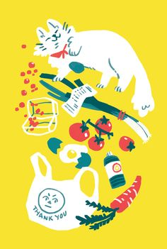 Illustration of happy cat and a spilled bag of groceries. Poster Print, Arte Sketchbook, Illustrations And Posters, Grafik Design, Animes Wallpapers, Aesthetic Art, Cat Art, Graphic Illustration, Art Inspo