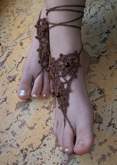 Sexy brown crocheted barefoot sandals steampunk, victorian lace, sexy, yoga, anklet ,wedding, beach or pool party- Ready to Ship