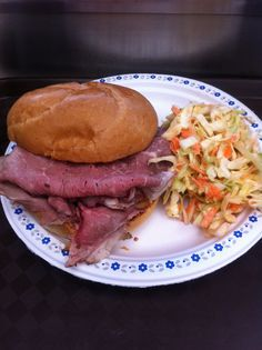 Smoked brisket sandwich with our home made coleslaw