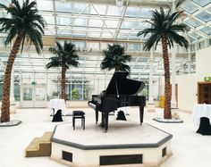 Black Blüthner grand piano on the stage in the Conservatory, Millennium Gloucester Hotel in South Kensington, London