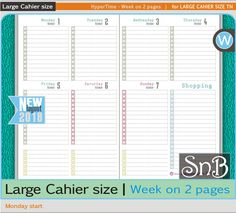 SnB Large Cahier - HyperTime -  Week on 2 pages - Monday - 2017 / 2018 - Printable Weekly inserts for Traveler's Notebooks by MarsiaBramucci on Etsy