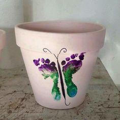 Grandma gift from your child DIY flower pot for her garden