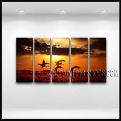 Stunning Modern Abstract Painting Hand Painted Oil Painting Stretched Ready To Hang Sunset. This 5 panels canvas wall art is hand painted by E.Cheung, instock - $168. To see more, visit OilPaintingShops.com