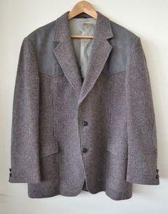 8399044860cea Pendleton Western Gray Tweed 100% Wool Leather Men s Jacket Blazer Size 46
