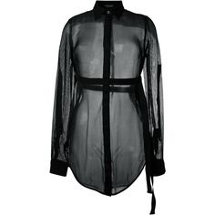 Marcelo Burlon County Of Milan sheer shirt (657 CAD) ❤ liked on Polyvore featuring tops, black, see through tops, sheer top, collared shirt, silk shirt and long sleeve tops
