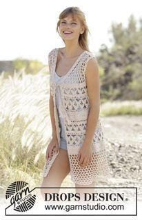 """Summer Bliss Vest - Gehäkelte DROPS Weste in """"Belle"""" mit A-Schnitt, Lochmuster und Bindeband. Größe S-XXXL. - Free pattern by DROPS Design"""