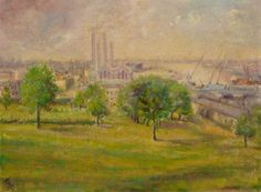 """""""Four Chimneys, Greenwich"""" by E. M. Beagles, 1952, Greenwich Heritage Centre"""