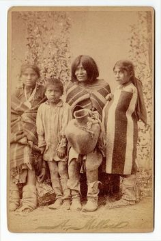 Apache mother and her children - circa 1890
