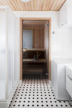 Bathroom and sauna with glass door, pretty floor tiling Glass Door, Alcove, Tile Floor, Bathtub, Flooring, Doors, Bathroom, Saunas, Tiling