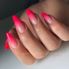 Nail Art Designs For Ombre Nails - Nail Art Connect Gem Nails, Hair And Nails, Red Ombre Nails, Airbrush Nails, Best Nail Art Designs, Cute Acrylic Nails, Nagel Gel, Tips Belleza, Cool Nail Art