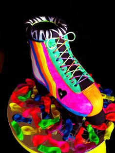 Funky Fluro Roller Skate Birthday Cake by A Sinful of Sugar, Adelaide, South Australia. You'll find this Cake Appreciation Society Member in our Directory at www.cakeappreciationsociety.com