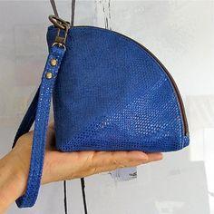 Leather Qbag clutch / zipper pouch / bag organizer handmade by rinarts