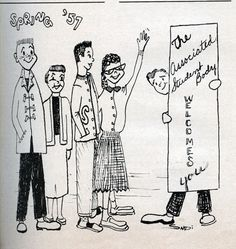 Associated Student Body welcome to the San Fernando Valley campus of Los Angeles State College (now CSUN). This cartoon, from the campus newspaper, ran early in the 1957 Spring semester.  CSUN University Digital Archives.