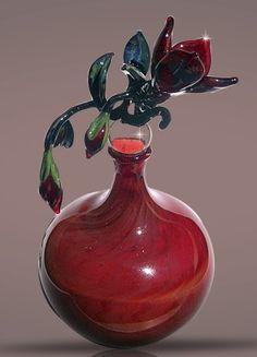 Red flower bottle by Bickley Studios