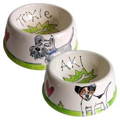 New to D for Dog these dog bowls, each one beautifully hand painted and personalised in a pottery studio near Cheltenham, feature not only your dog's name but also a wonderful hand painted representation of your dog from the photo you provide.