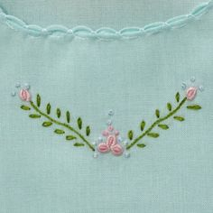 Baby Girl's Hand Embroidered Mint Slip por CommonThreadCottage
