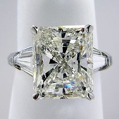 Three Stone Engagement Ring Radiant Cut Center Trapezoid Side Diamonds - Style