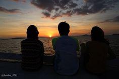 Watching sunset at Komodo island
