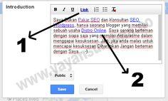 Fasilitas untuk menambahkan Link pada Edit Profil bagian Introduction (Pendahuluan). Cocok untuk menanam Backlink di Halaman Profil Google Plus