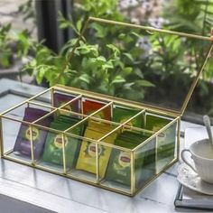 NCYP Glass Terrarium Box Tea Coffee Bag Storage Organizer image 0 Terrarium Containers, Terrarium Ideas, Glass Terrarium, Terrariums, Frame Display, Display Case, Jewelry Organization, Storage Organization, Tea Bag Storage