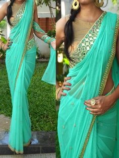 Sea Green #Designer #Bollywood #Replica Pearl Work #Saree