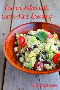 quinoa salad with cumin lime dressing - from @Rachel at Rachel Cooks