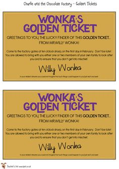 For the part where we have 'Charlie and the Chocolate Factory' we are going to have a golden ticket get pulled out of a chocolate bar. Wonka Chocolate, Chocolate Party, Classroom Displays, Classroom Themes, Rold Dahl, Roald Dahl Activities, Chocolates, Charlie Chocolate Factory, Roald Dahl Day