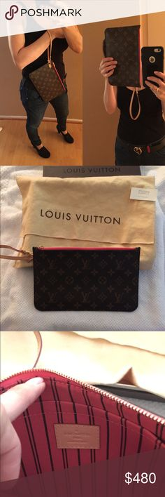 Authentic LV Neverfull MM pochette wristlet This beautiful wristlet is  perfect size. Perfect condition. 190e3d4070328