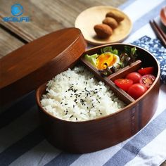 Ecofriendly Healthy Wooden Single Layer Japanese Lunch Box For Kids Children Bento Box Portable Food Container LB24