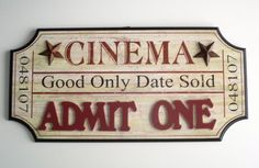 CINEMA MOVIE Wall PLAQUE Sign Film Ticket Theater Media Vintage Style Decor 3D in Collectibles, Advertising, Merchandise & Memorabilia | eBay